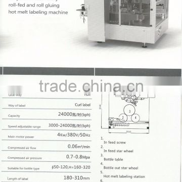 HR 1I-15 Fully Automatic Roll-fed and Roll gluing Hot Melt Labeling Machine For Bottles