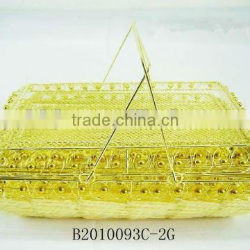 Golden metal wire and paper rope rectangle fruit storage basketry