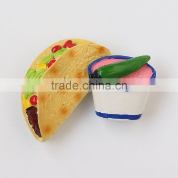 custom design rolling bread with vegetable and meat 3D resin fridge magnet