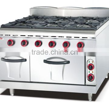 Restaurant Hotel 8 burner gas range with oven,commercial gas range definition(ZQW-889-8)