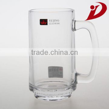 Fancy personalized engraved logo high clear glass tea cup with handle
