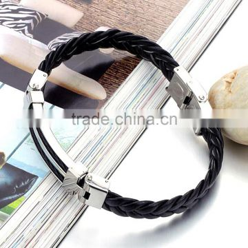 Wholesale Stainless Steel Genuine Gold Men silicone rubber Bracelet Mens Leather Bracelet