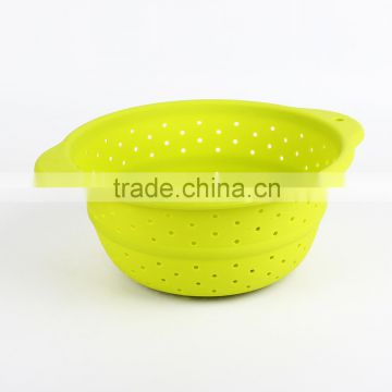 Promotional BPA free food safety silicone Collapsible Colander