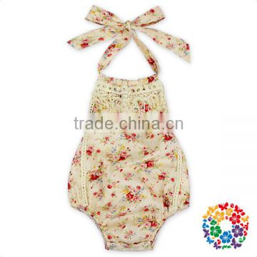 Baby White Maize Lace Rompers Floral Cotton Fabric Summer Onesie Halter Crop Top