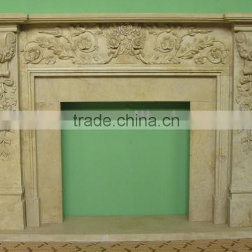Crema Marfil beige Marble Fireplace Mantel Surrounding