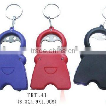 Hot selling multi function bottle opener keychain with tape measure and LED flashlight