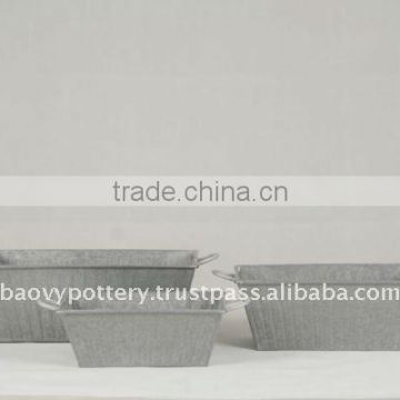 AYL Galvanized zinc vase,Galvanized zinc watering can , Zinc Pot Planter, zinc planter for gardening and household