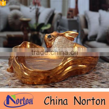 Elegant gold irregular shape resin fish fruit tray/fruit plate NTRS-TD016A