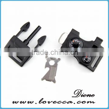 For Paracord Bracelet Flint Fire Starter Whistle Buckle Compass Therometer Screwdriver Buckle