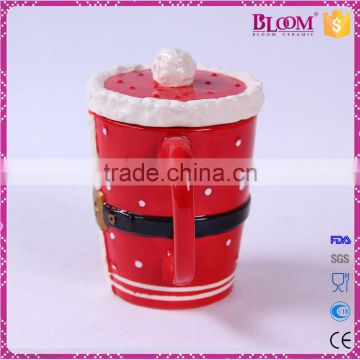 Christmas gift red ceramic sublimation mug with lid