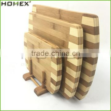 3pc Cutting Block and Bamboo Chopping Board Set with Rack/Homex_FSC/BSCI Factory