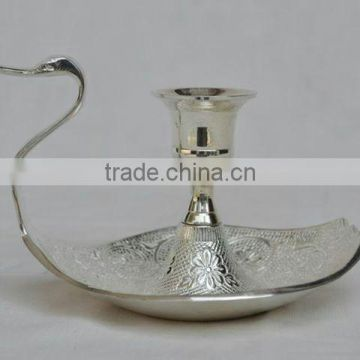 Duck shape silver candle stick holder