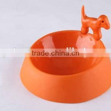 3D dog design matte plastic pet bowl
