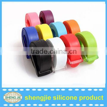 Fashion silicone belt/sports silicone belt/silicone belt with plastic buckle