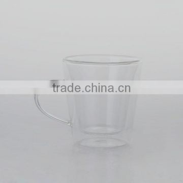drinking glass tea cup with handle double wall shape