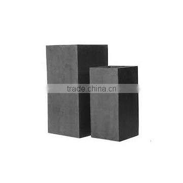 Tall Square Polystone planter, durable fiberstone outdoor pots, lighweight fiberglass