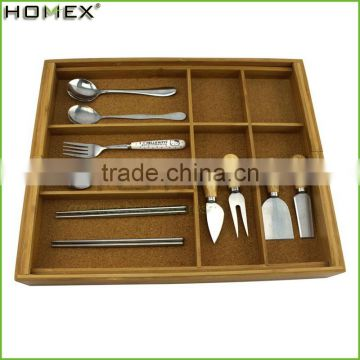 High Quality Bamboo Kitchen Expanding Utensils Set Holder Drawer Organizer/Homex_Factory