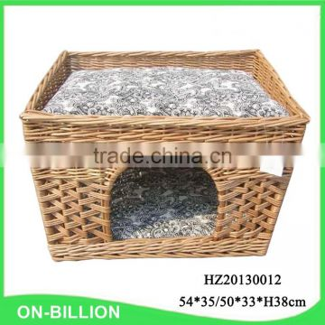 Rustic handmade rattan woven wicker cat house