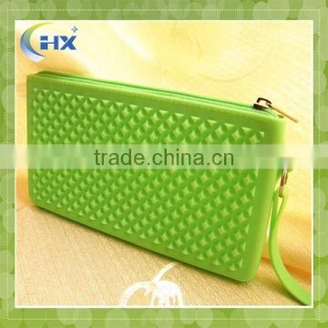 2015 fashion hot selling women silicone rubber wallet with zipper