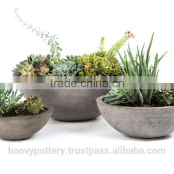 Round Cement Planters, Set of 3.