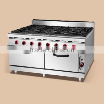 Top sale 8 burners gas stove with oven,gas range with burner for sale