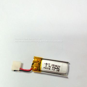 BYT 3.7v li polymer battery for bluetooth with MSDS UN38.3