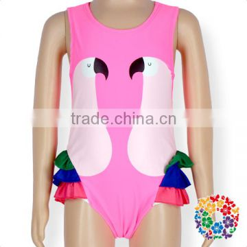 New Style Sleeveless Swan Printing Swim Wear Clothes Baby Girls One Piece Swimsuit