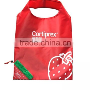 drawstring closure customized promotional strawberry polyester foldable shopping bag