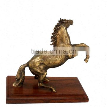 BRASS ANTIQUE BRONZE FINISH JUMPING HORSE STATUE ON WOOD BASE FOR HOME DECORATION