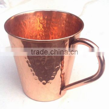 BPA FREE HAMMERED FINISH MOSCOW MULE SOLID TAPER COPPER MUG