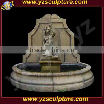 outdoor antique limestone wall waterfall fountains with child