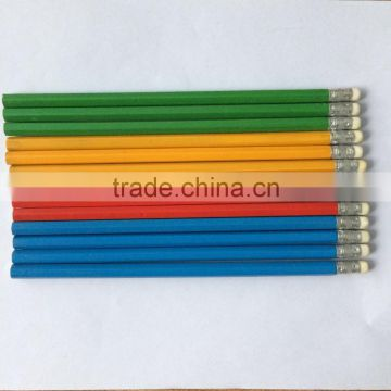 Yellow Wood Pencil with a Rubber HB Pencil Students Children's Stationery Wooden Pencil