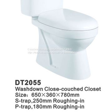 Chaozhou Sanitary ware Export ceramic p trap washdown 2 pc toilet DT2055