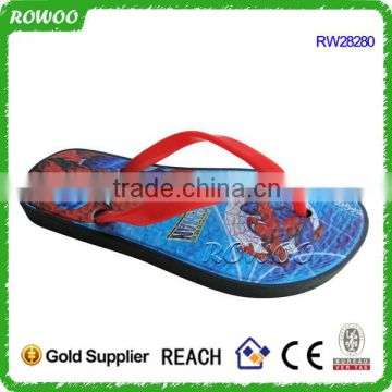Sublimation children spider-man printing soft flip flops for kids