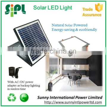Auto-sensing solar powered square led ceiling light with dual power adapter