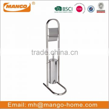 Free Standing Stainless Steel Toilet Brush and Toilet Roll Holder