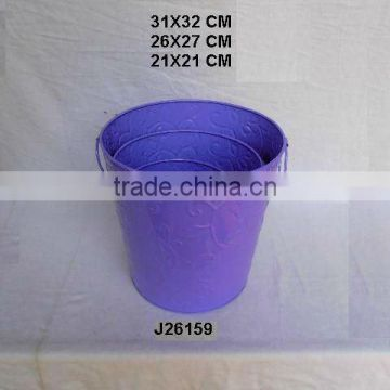Purple Powder coated Iron round pot with Embossed patterns