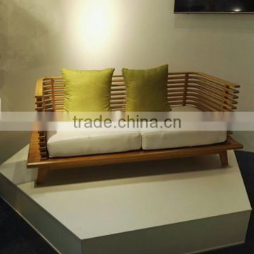 Latest design bamboo long sofa chair for 2 persons