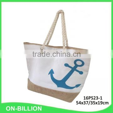 Canvas material beach bag with rope handles