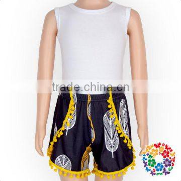 wholesale kids summer clothes pom pom shorts plain white top baby summer boutique outfits