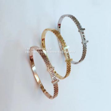 Gold Rose Gold Silver Vacuum PVD Plating 316L Stainless Steel Bracelets Bangles Esposas For Men Womens