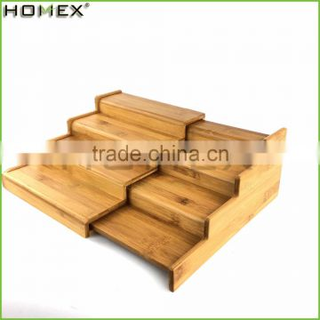 Bamboo Spice Stand 4 Shelf with Expanding Rack/Homex_FSC/BSCI Factory