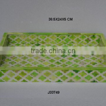 Rectangular Tray with green cut work mosaic, colours size can be customized