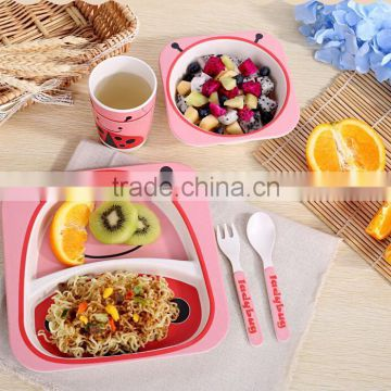 BSCI Audit Biodegradable Eco Bamboo Fiber Kids Dinner Set