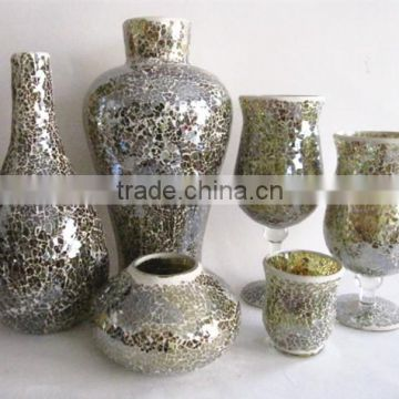 set 8 pieces decorative mosaic glass vase wholesalers in serie