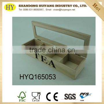 unfinished antique wooden tea box wholesale with glass top