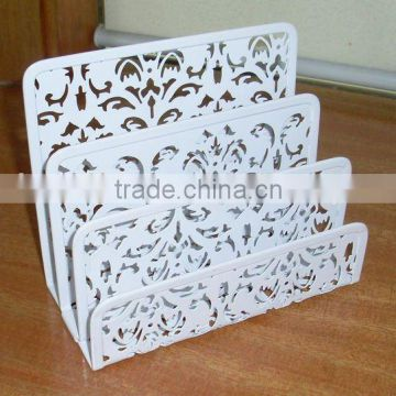 flower carved metal document tray/ file holder