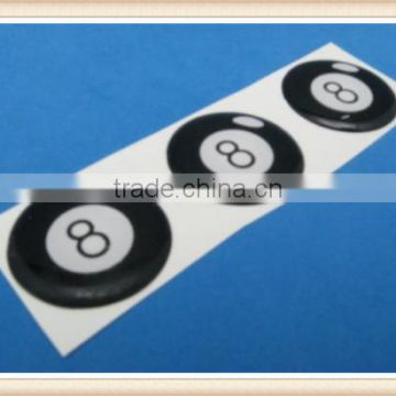 LUCKY EIGHT - 8 BALL DOMED DECAL EMBLEM STICKER SET OF THREE #211
