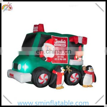 Commercial christmas inflatable santa in tractor, inflatable camper truck for promotion , santa tractor for christmas yard decor