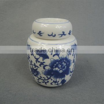 Blue and white porcelain pet urn ashes